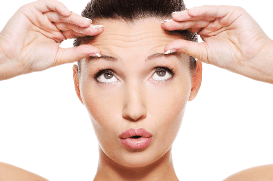 turn back time - a woman lifting her eyebrows and pinching wrinkles