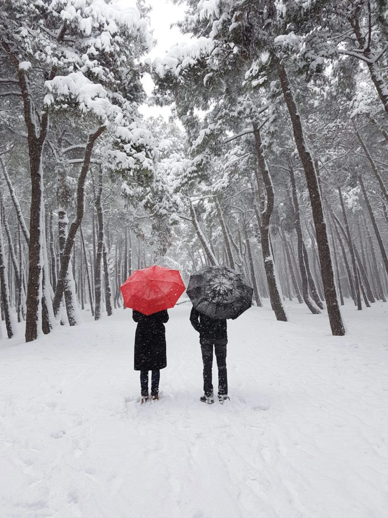 time to talk - photo of a couple standing in the snow