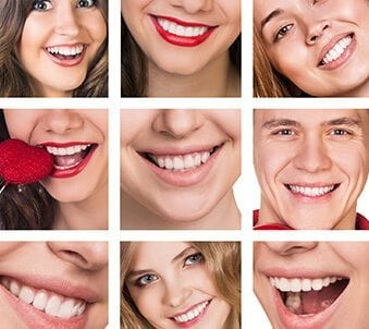 dental cosmetic care shows nine smiling faces of mixed ages and genders
