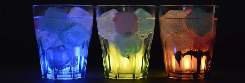 Dry January shows blue, yellow and orange glasses of beverages lined up.