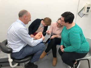 Safe sedation dentistry training being demonstrated to three staff in SpaDental Plymouth