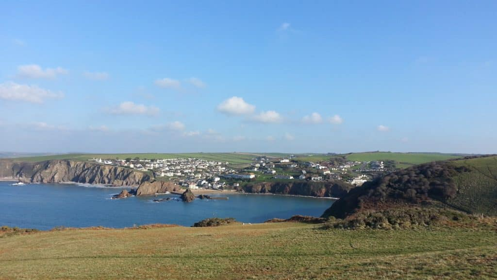 view of the sunny bay of Hope Cove for holiday opening over bank holiday