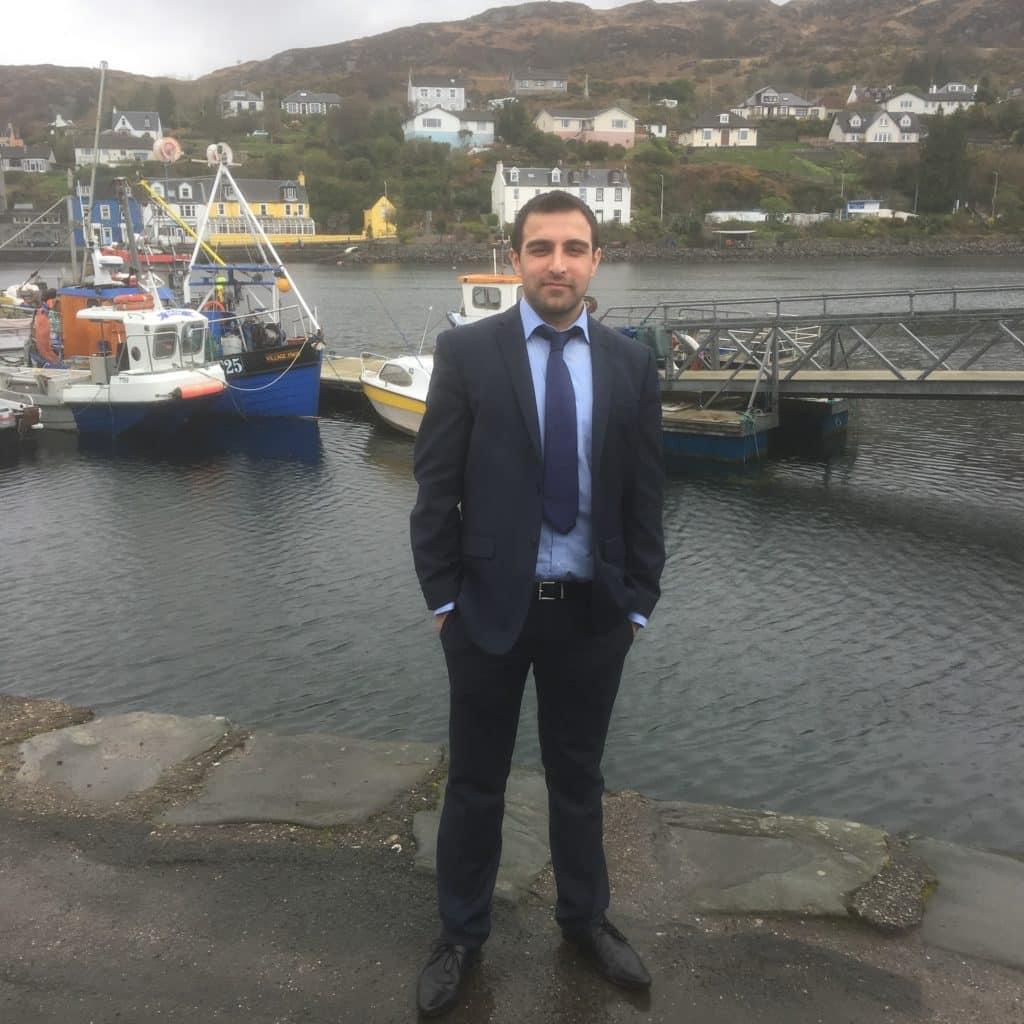 dentst Aryaan Khalid in Scottish harbour