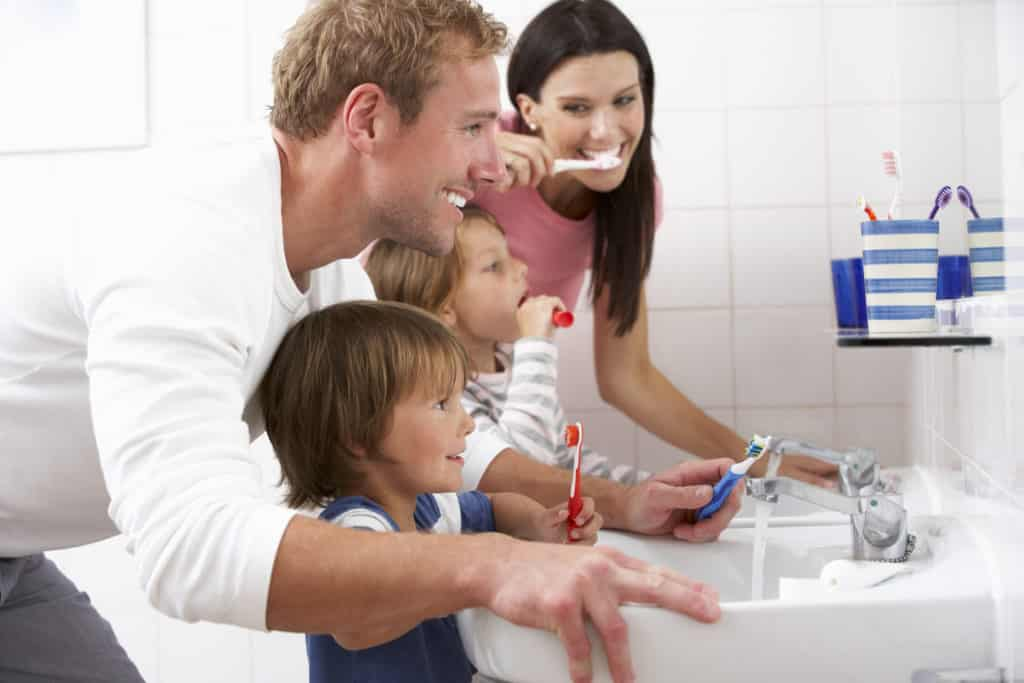 tooth brushing for home learning children with parents