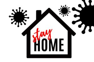 drawing of house protecting from virus for stay home