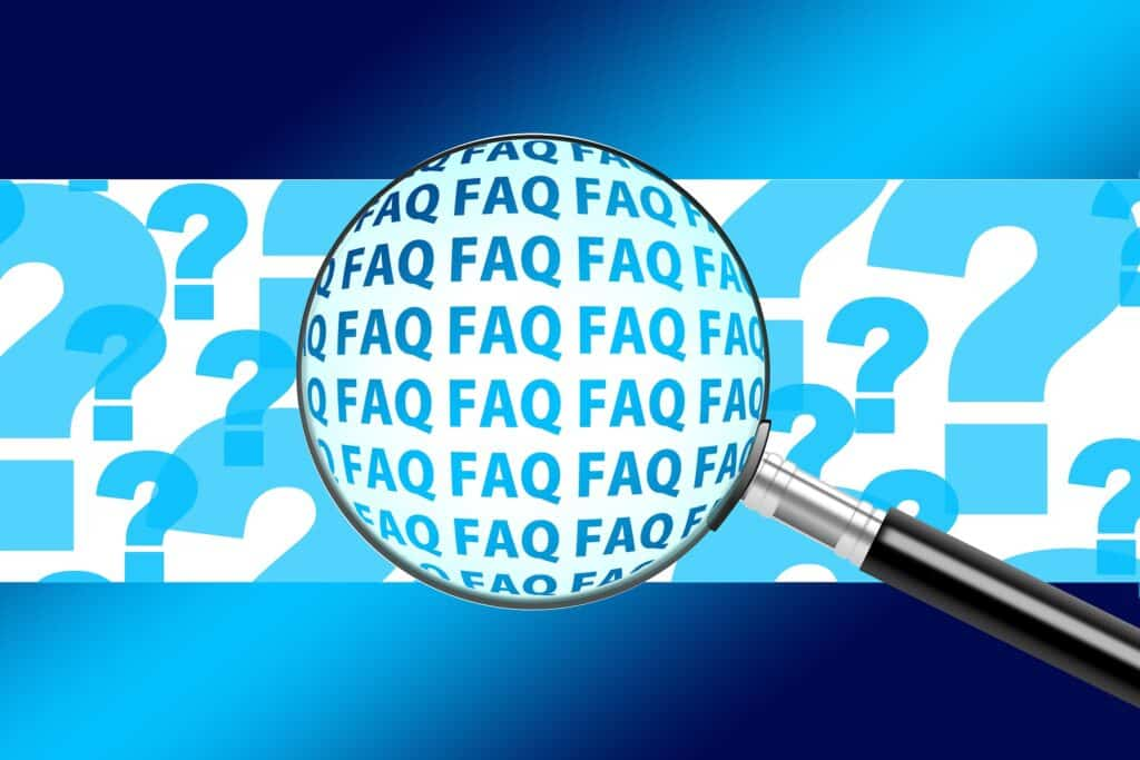 blue and white FAQ graphic forpost-coronavirus dental appointment