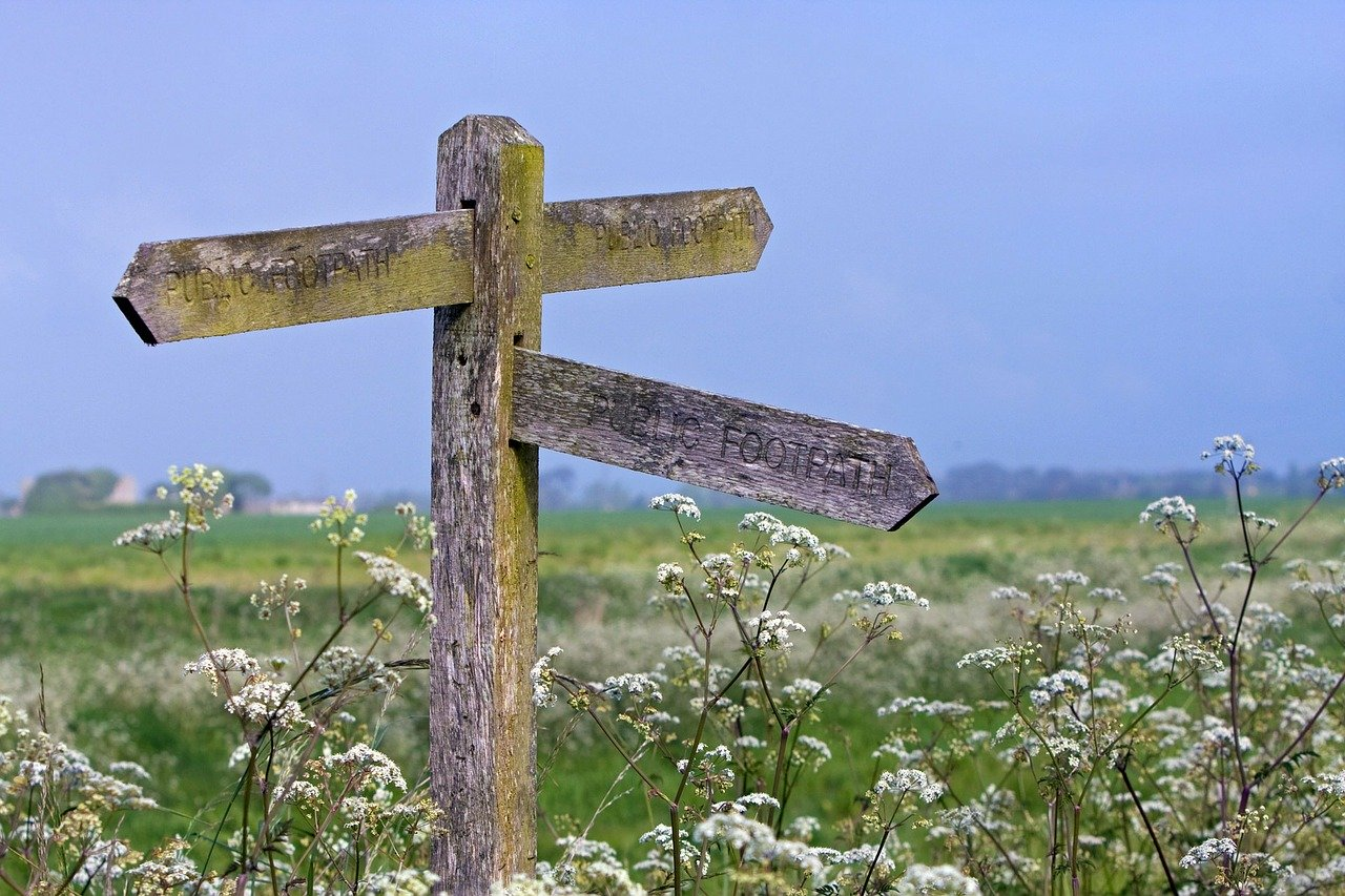 wooden signpost shows footpaths home worming away from dentist